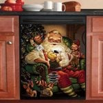 Gnomes Playing With Santa Dishwasher Cover Sticker Kitchen Decor