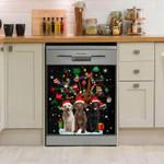 Labrador Retriever And Tree Snowy Night Dishwasher Cover Sticker Kitchen Decor