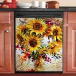 Hummingbird And Sunflower Art Dishwasher Cover Sticker Kitchen Decor