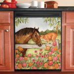 Horse Cat Zinnias Dishwasher Cover Sticker Kitchen Decor
