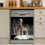 Giraffe Mom And Baby At Night Dishwasher Cover Sticker Kitchen Decor