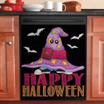 Happy Halloween Purple Switch Hat Bat Black Dishwasher Cover Sticker Kitchen Decor