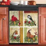 Four Bird Vintage Dishwasher Cover Sticker Kitchen Decor