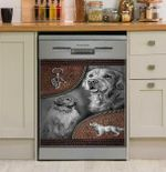 Golden Retriever Leather Pattern Dishwasher Cover Sticker Kitchen Decor