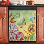 Laugh Often Flower Pattern Dishwasher Cover Sticker Kitchen Decor