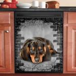 Dachshund Dog Gray Wall Dishwasher Cover Sticker Kitchen Decor