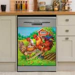 Chicken Farm Colorful Dishwasher Cover Sticker Kitchen Decor