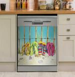 Flip Flops Summer Beach Dishwasher Cover Sticker Kitchen Decor