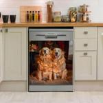 Golden Retriever Happy And Lights Dishwasher Cover Sticker Kitchen Decor