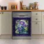 Dragonfly Lotus Purple Frame Pattern Dishwasher Cover Sticker Kitchen Decor