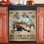 Dragon And I Think To Myself What A Wonderful World Dishwasher Cover Sticker Kitchen Decor