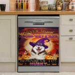Halloween Beware Of The Husky Dishwasher Cover Sticker Kitchen Decor
