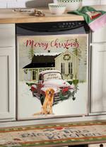 Golden Retriever Christmas Car Pattern Dishwasher Cover Sticker Kitchen Decor