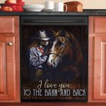I Love You To The Barn And Back Horse Dishwasher Cover Sticker Kitchen Decor