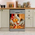 Dalmatian Dogs Playing Painting Dishwasher Cover Sticker Kitchen Decor