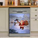 Happy Snowman And Santa Claus Dishwasher Cover Sticker Kitchen Decor