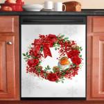 Christmas Robin Wreath Dishwasher Cover Sticker Kitchen Decor