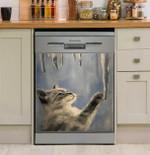 Frist Snow And Cat Dishwasher Cover Sticker Kitchen Decor