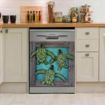 Green Turtle Ocean Dishwasher Cover Sticker Kitchen Decor