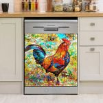 Chicken Colorful Painting Dishwasher Cover Sticker Kitchen Decor