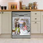 English Springer Snowman Pattern Dishwasher Cover Sticker Kitchen Decor