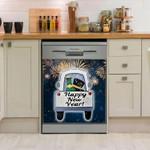 Happy New Year Car Pattern Dishwasher Cover Sticker Kitchen Decor
