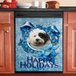 Christmas Blue Snowflakes Tibetan Terrier Dishwasher Cover Sticker Kitchen Decor