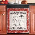 Country Roads Take Me Home Horse Dishwasher Cover Sticker Kitchen Decor