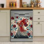 Colorful Chicken Flower Dishwasher Cover Sticker Kitchen Decor