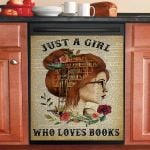 Just A Girl Who Loves Books Redhead Reading Dishwasher Cover Sticker Kitchen Decor