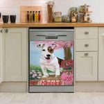 Jack Russell Terrier Kisses Peach Blossom Tree Dishwasher Cover Sticker Kitchen Decor