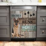 German Shepherd Home Pattern Dishwasher Cover Sticker Kitchen Decor