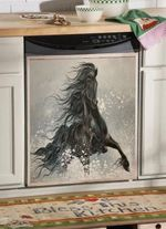 Friesian Horse Jumping Dishwasher Cover Sticker Kitchen Decor