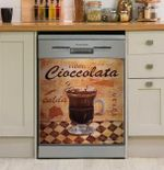 Coffee Shop Hot Chocolate Vintage Dishwasher Cover Sticker Kitchen Decor