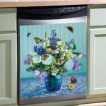 Flower And Butterfly Dishwasher Cover Sticker Kitchen Decor
