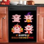 Funny Pink Pig Happy Hallothanksmas Dishwasher Cover Sticker Kitchen Decor