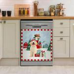 Golden Retriever And Gift Pattern Dishwasher Cover Sticker Kitchen Decor