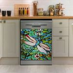 Dragonfly Green Ceramic Pattern Dishwasher Cover Sticker Kitchen Decor