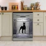 Doberman Pinscher Corners Metal Dishwasher Cover Sticker Kitchen Decor