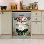 Green Butterfly Floral Vintage Dishwasher Cover Sticker Kitchen Decor