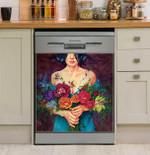 Flower Kisser Dishwasher Cover Sticker Kitchen Decor
