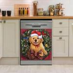 Golden Retriever Christmas Wreath Dishwasher Cover Sticker Kitchen Decor