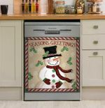 Greetings Snowmen Dishwasher Cover Sticker Kitchen Decor