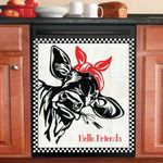 Funny Cow With Bandanna Dishwasher Cover Sticker Kitchen Decor