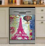 Eiffel Tower Paris And Hot Air Balloon Dishwasher Cover Sticker Kitchen Decor