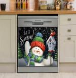 Let It Snow Snowman Waving Dishwasher Cover Sticker Kitchen Decor