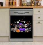 Cute Dachshund In Halloween Costume Dishwasher Cover Sticker Kitchen Decor