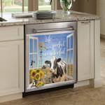 Cow Sunflower The Window Pattern Dishwasher Cover Sticker Kitchen Decor