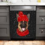 German Shepherd Christmas Hat Dog Pattern Dishwasher Cover Sticker Kitchen Decor