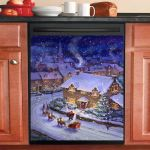 Christmas Santa And Sleigh At Christmas Night Dishwasher Cover Sticker Kitchen Decor